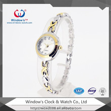 latest style alloy metal case band bracelet silver women's watch