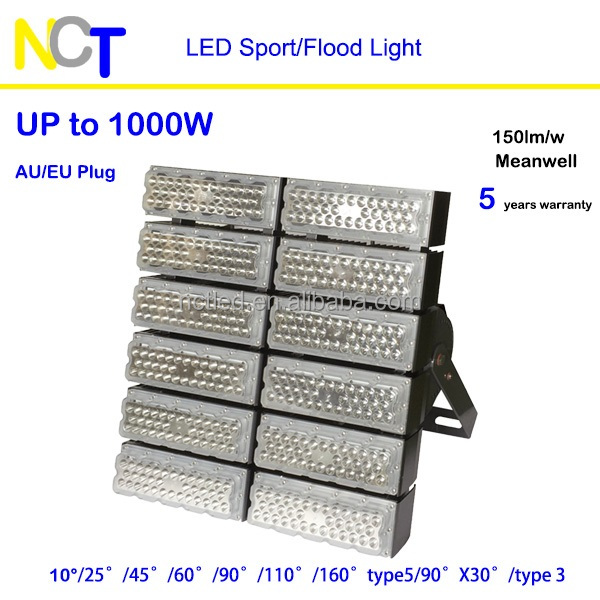 Bright 1000 Watt led flood light professional sport flood light wharf stadium lamp 150lm/w 5 yrs warranty