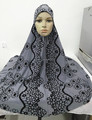 H313 latest big size muslim prayer hijab with flower print,islamic scarf,pray hijab