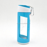 360ml Recyclable Bpa Free Wide Mouth Glass Bottles Wholesale UK with Carabiner Cap for Climbing