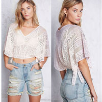Fashion ladies lace poncho top, lace crop top