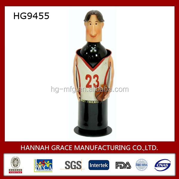 New Decorative Sport Style Basketball Player Metal Wine Bottle Holder