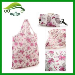 Foldable Polyester/Nylon Shopping Bag with Self Material Pouch Packaging and Plastic Carry Hook