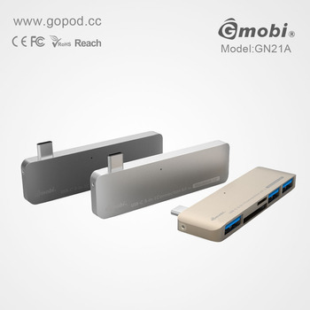 Unique design 5in1 USB 3.1 Type C Hub Card Reader Made For New MacBook 12''/ChromeBook Pixel
