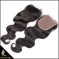 2015 silk base closure wholesale free part/middle part/3 way part brazilian virgin hair top closure with baby hair