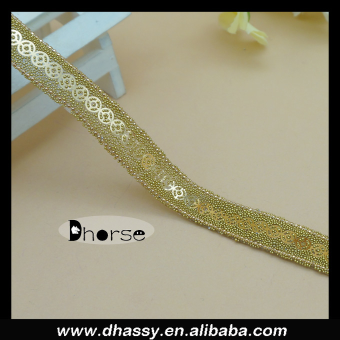 Guangzhou Dhorse trim DH-RT0391 gold sequin beaded garment trim types