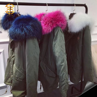Latest winter padded short mens women hooded parka coats with raccoon fur collar