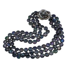 Coin Black Freshwater Pearl Necklace 3 Strand 927691