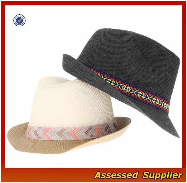 Unisex gender 100% paper straw hats for summer black band decor beach fedora panama hat women straw hat for sale