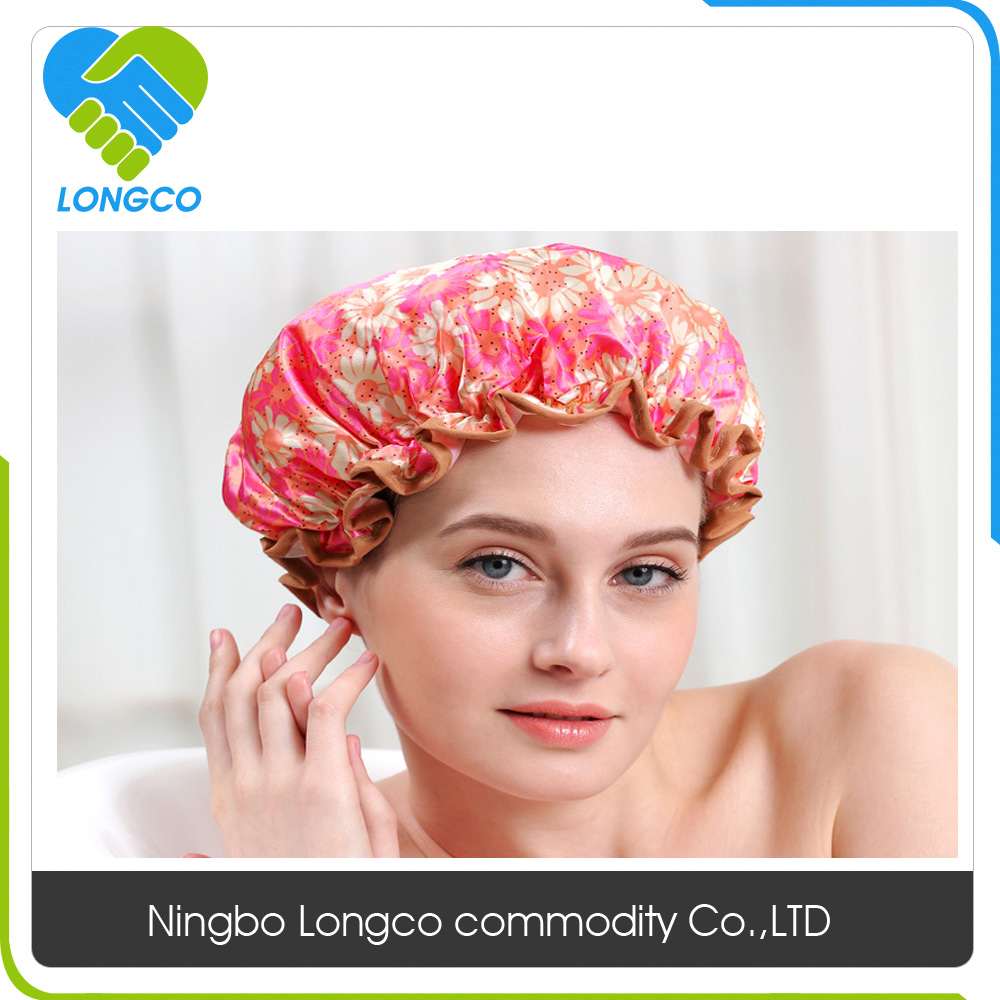 fashionable satin customized sexy shower cap