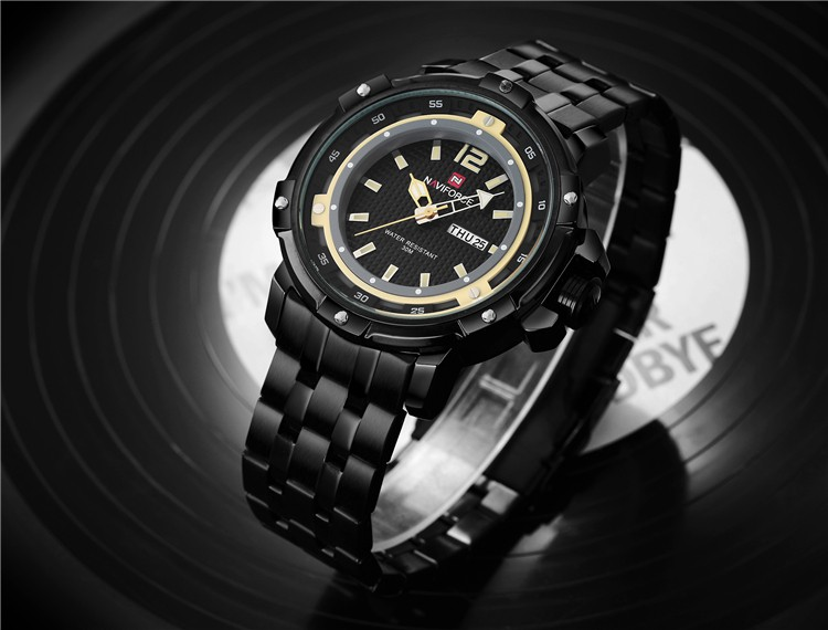 original brand luxury stainless steel mesh watch waterproof sports men date calendar military quartz watch naviforce 9073 watch
