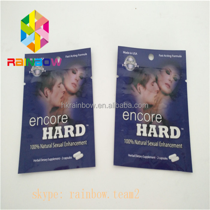 Encore Hard Natural sexul Enhancement 2 Capsules Bags with Tear Notch, Three Side Sealed Mylar Foil Pill Packaging Pouch