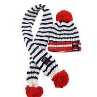 Wholesale children's winter striped acrylic knitted scarf hat set with pompom