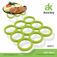 9 Ring Design Apple Green Color Table Decoration Silicone Hot Pads