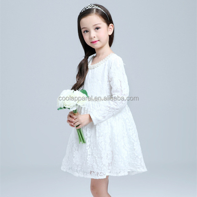 china western white lace wedding long sleeve kids bridesmaid dresses for child
