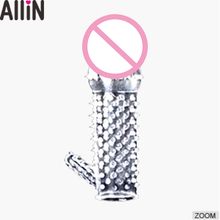 A+B 2pcs Newest Adult Transparent Crystal sex toy penis sleeve Cock Ring Dildo Spike Condom Special Condoms Male Sex Product