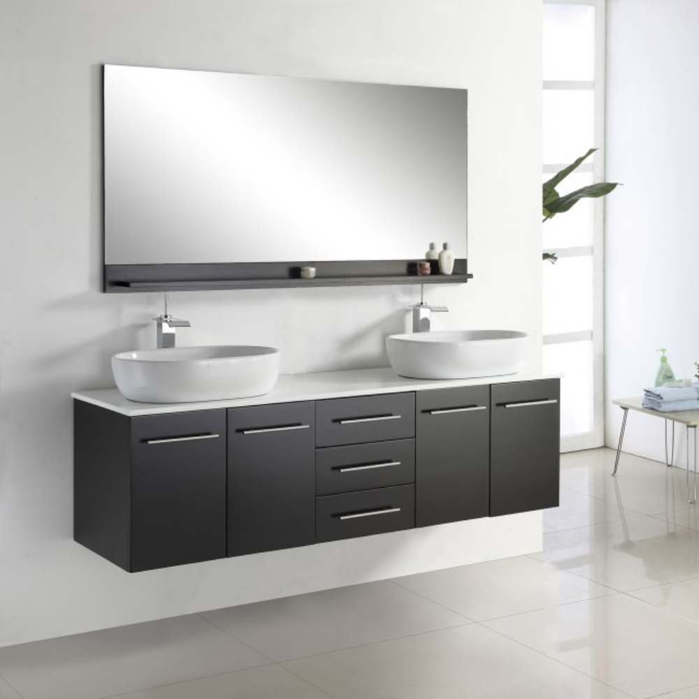 Wall mounted bathroom vanity double sink bathroom cabinet for Double basin bathroom sinks
