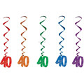 40th Birthday Coloured Hanging Swirls Party Supplies Decoration 5 in a Pack