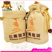 eco-friendly jute coffee beans bag with beads drawstring