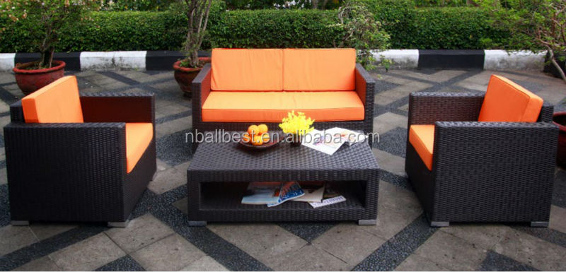 New Model 2016 with new design Poly Rattan Outdoor Garden Furniture Georgia 3 Seat grey Rattan Sofa Set