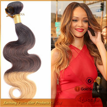 High Quality Aliexpress Hair Cheap 3 Tone Color Ombre Hair Extension