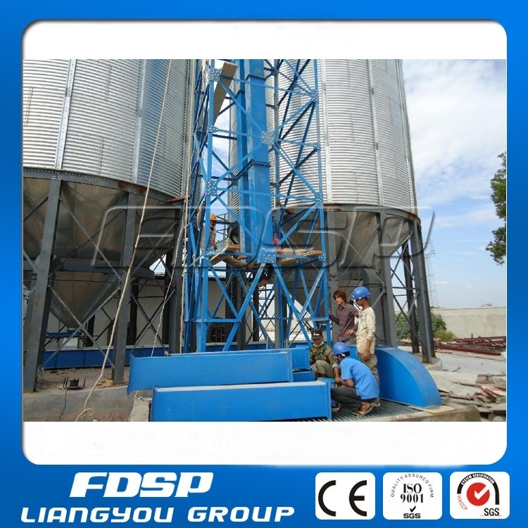 2-2000T bolted silo with steel cone hopper for paddy storage with vibration sieve cleaner