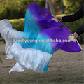 Natural Silk Belly Dance Fan Veils, Pure Silk Material, 1.8*0.9M, PURPLE/TURQUOISE/WHITE