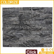 Customized Popular Style Black Slate Stacked Cultural Wall Natural Stone