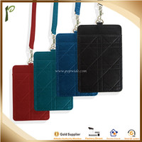 Popwide promotion Leather waterproof Colorful Leather Business Student Id Badge Card Holder With Long Neck Strap Band Lanyard