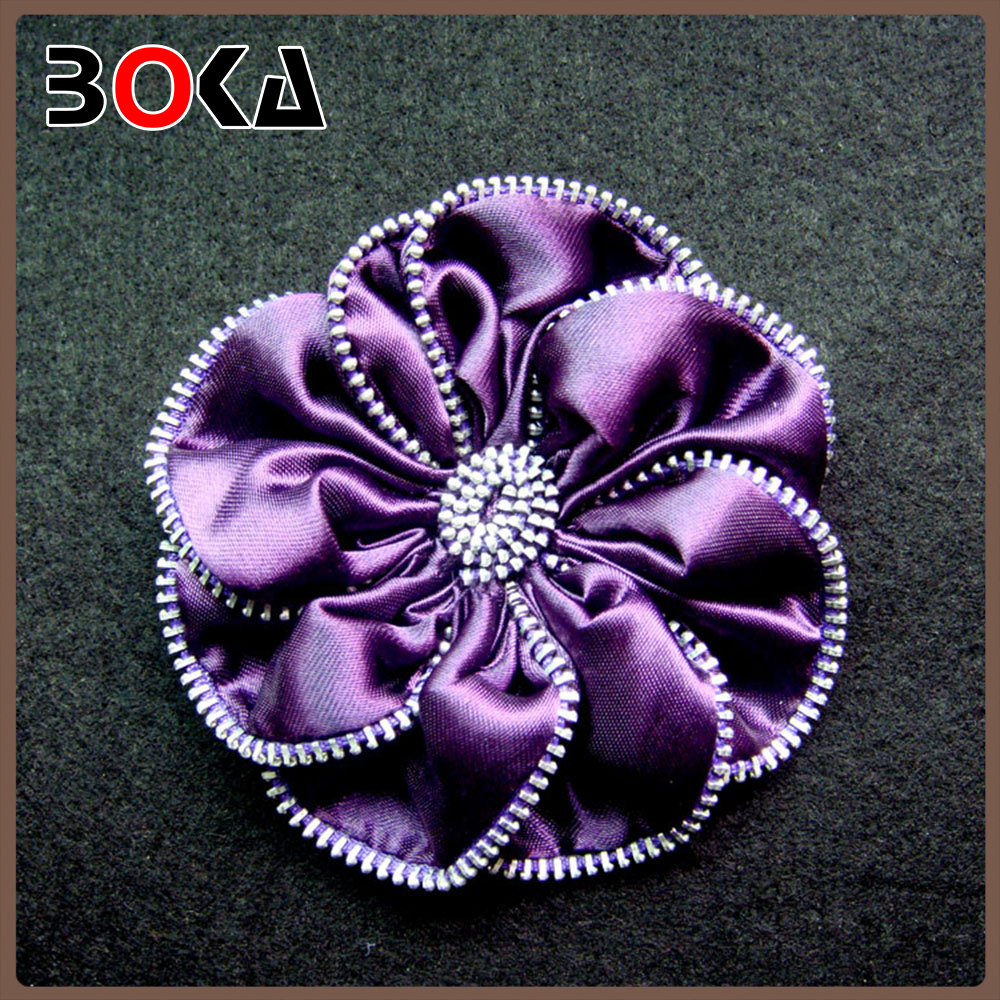 hot sell purple round zipper flower patches for lady garment, new design flower applique