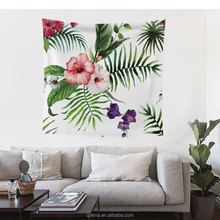 Wholesale Flower Pattern Polyester Pongee Wall Hanging Custom Tapestry