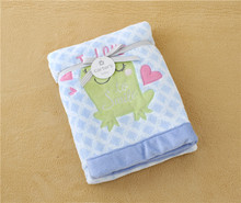 frog embroider super soft printing coral fleece baby blanket
