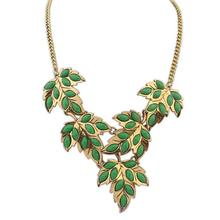 Fashion Jewelry Wholesale From China Maple Leaf With Colorful Stone Link Chain Gold Plating High Quality Statement Necklace