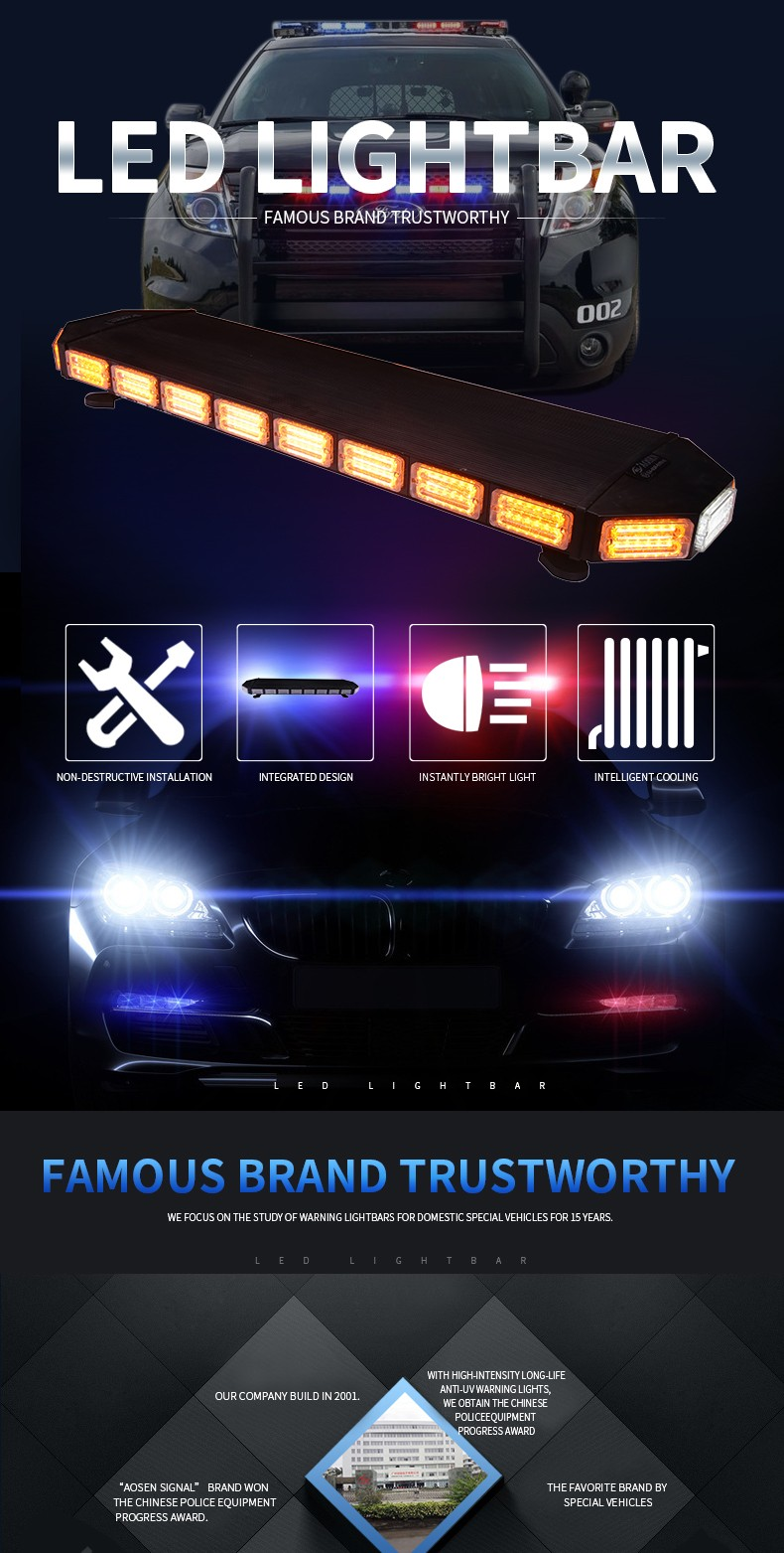 48 inch LED Amber Warning Lightbar/Emergency Light Bar /Outdoor Police LED Lightbar TBD-9F925