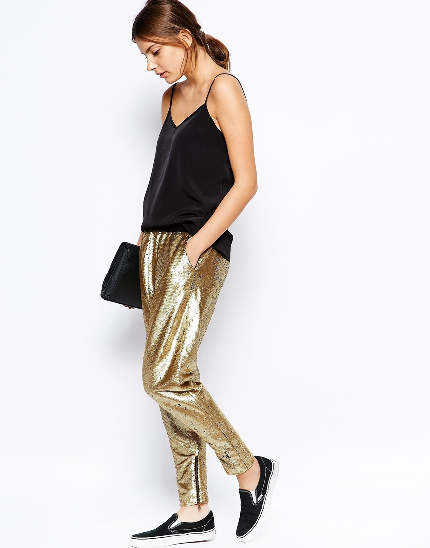 Finders Keepers Dreamweaver Track Pants in Gold Sequin