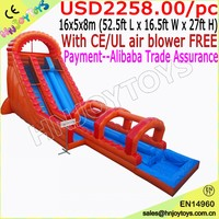 Dual Lane 27' Roaring River Inflatable Water Slide with Slip N Slide