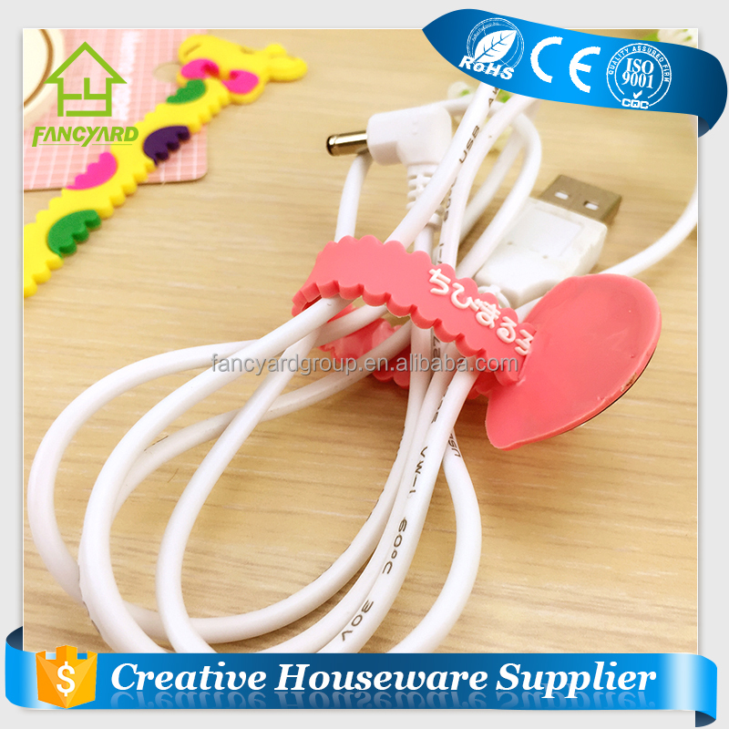 FY5003 Cable Tie/ Fashionable Colorful Reusable Silicone Fishbone Magic Wire Earphone Tie