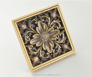 SOGNARE 10*10cm Antique Brass Art Carved Cover Square Shower Floor Drain Trap Waste Grate BathDrainD504A