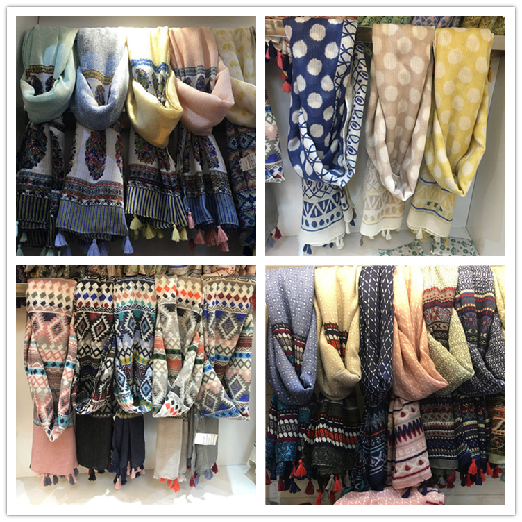 wholesale spring new collection ladies cotton scarf shawl yiwu supplier