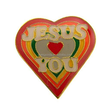Rainbow Color Enamel Heart Shape Jesus Loves You Carded Lapel Pin for Christians