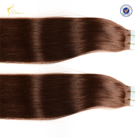 Indian temple virgin remy human hair PU skin weft double side tape hair extension