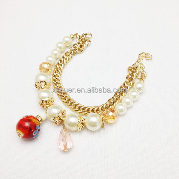 2014 Fashion cute girls chain pearl bracelet