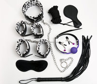 Stimulator From Pain 9pcs Bondage Sex Toys Rope/Cuffs/Whip/Paddle/Clip/Ball Gag/Mask/Collar For Adult