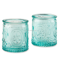 Clear transparent Vintage Blue Glass Tealight Holder DOF candle cup green solid color bubble model