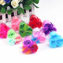 Promotion Creative Gifts 3pcs Heart Rose Soap Flowers PVC Box Package Soap Flowers