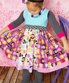 Charming fall girl children baby boutique dress clothing for picnic