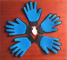 hot sale pet product five fingers blue pet gloves pet dogs massage gloves