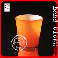 wholesale handmade orange whiskey glass with regular points ZDL0006