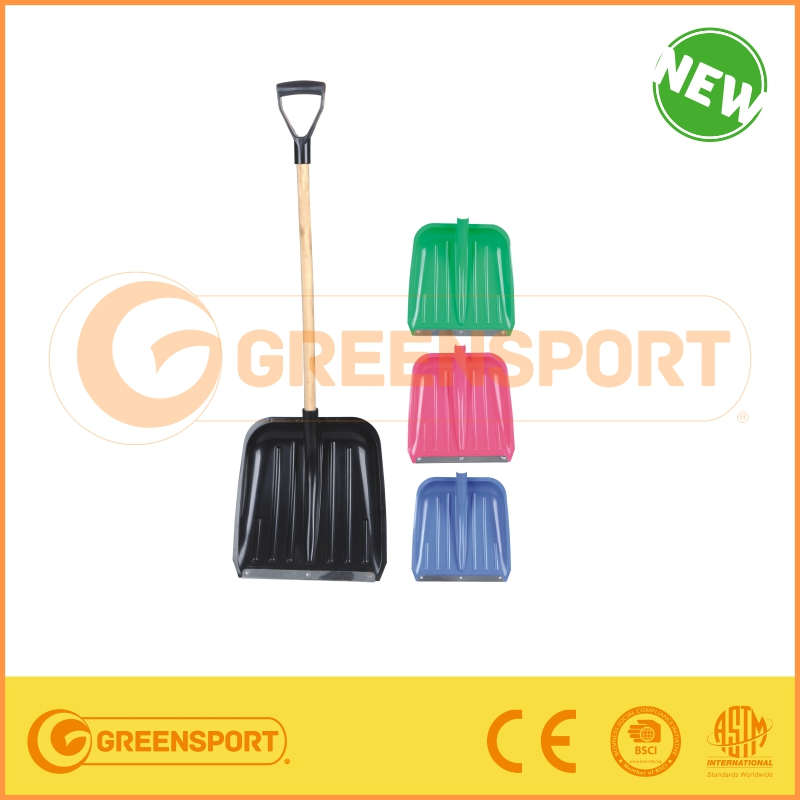 plastic snow shovel with wooden handle from manufacture for kids gift