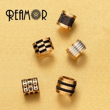 REAMOR REAMOR 316l Stainless Steel PVD Metal Spacer Unique Beads Accessories  for DIY Men Bracelet Jewelry Making